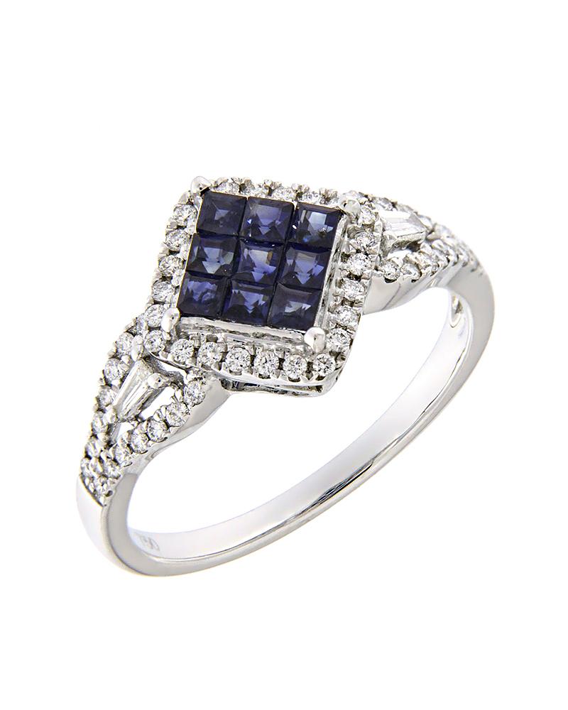 Δαχτυλίδι λευκόχρυσο Κ18 με Διαμάντια και Ζαφείρια   γυναικα δαχτυλίδια δαχτυλίδια διαμάντια