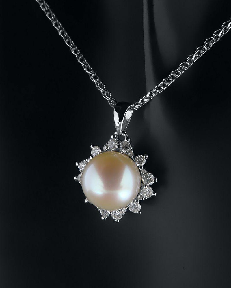 Μενταγιόν Με Διαμάντια και Μαργαριτάρι   γυναικα κρεμαστά κολιέ κρεμαστά κολιέ διαμάντια