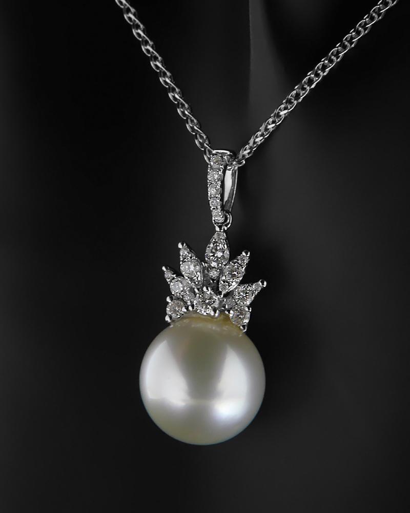 Μενταγιόν Με Διαμάντια Λευκόχρυσο Κ18 Με Μαργαριτάρι   γυναικα κρεμαστά κολιέ κρεμαστά κολιέ διαμάντια