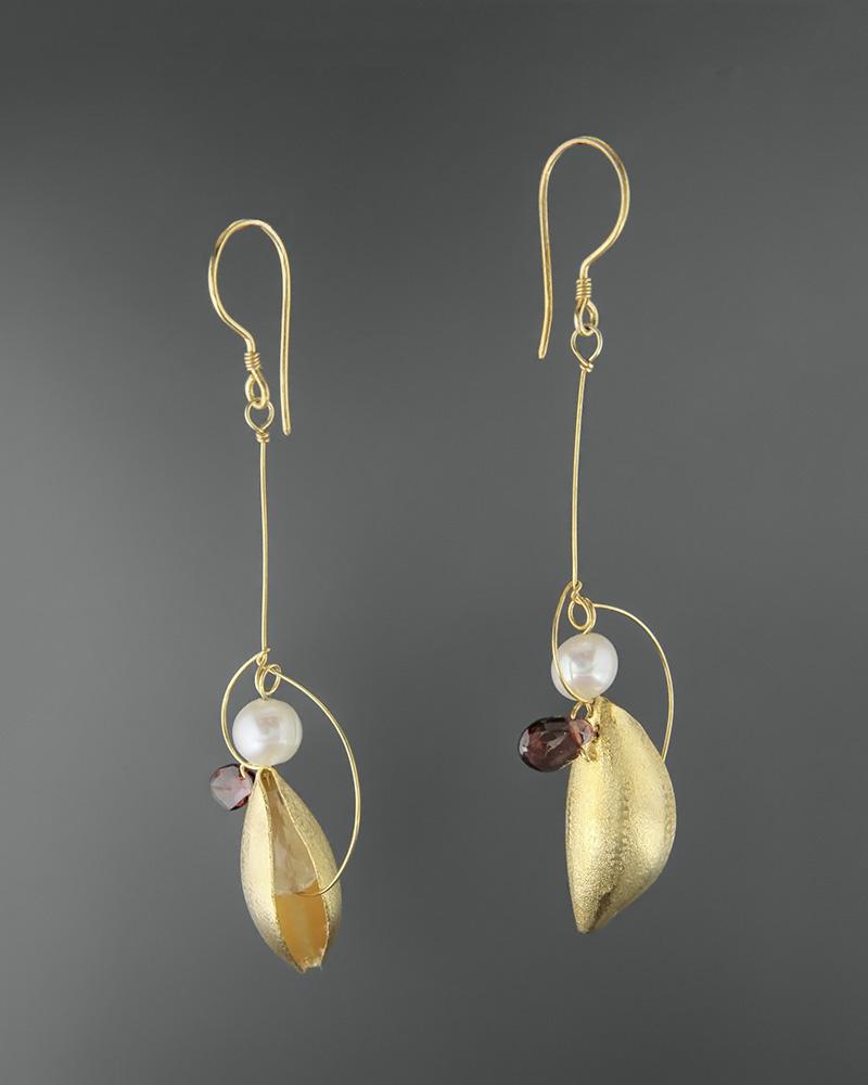 Σκουλαρίκια ασημένια 925 με αμέθυστο, γρανάδα και πέρλες   κοσμηματα σκουλαρίκια σκουλαρίκια ημιπολύτιμοι λίθοι