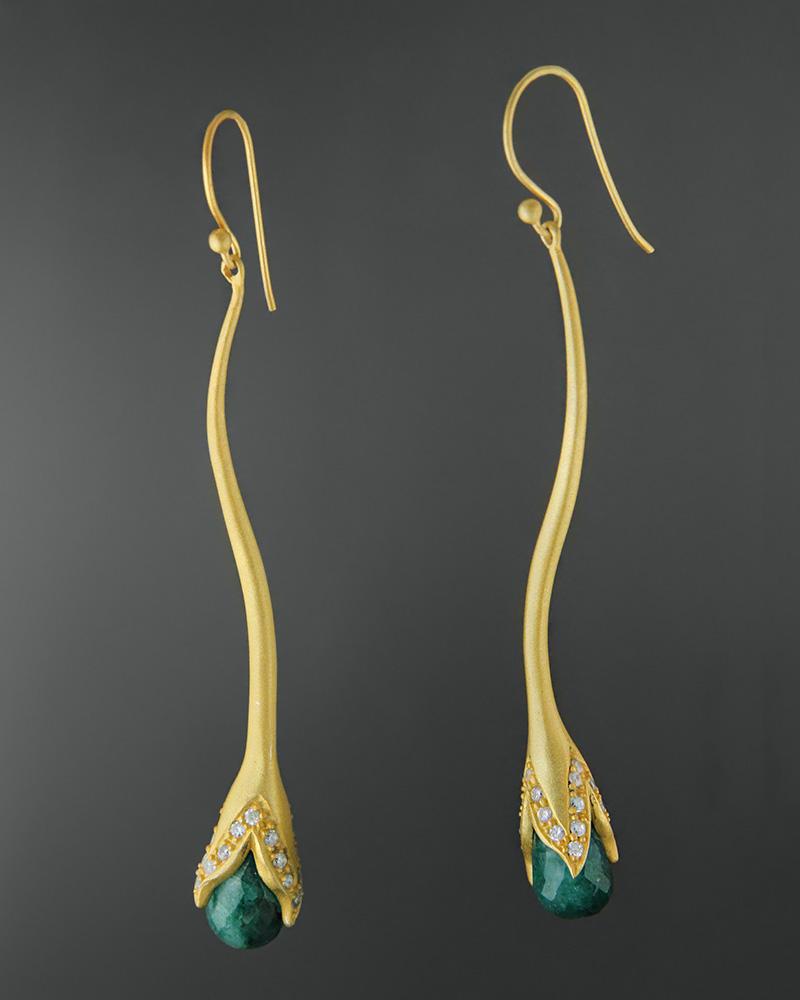 Σκουλαρίκια ασημένια 925 με σμαραγδίτη και ζιργκόν   κοσμηματα σκουλαρίκια σκουλαρίκια ημιπολύτιμοι λίθοι