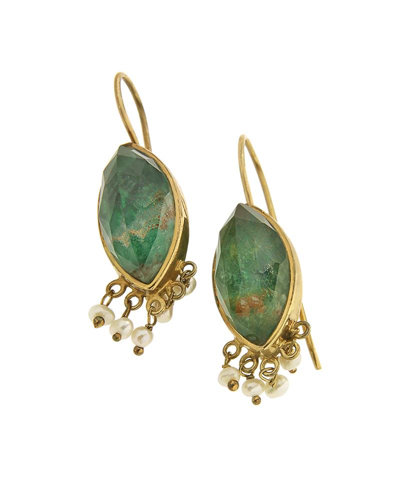 Σκουλαρίκια ασημένια 925 με green copper doublet και πέρλες   κοσμηματα σκουλαρίκια σκουλαρίκια ημιπολύτιμοι λίθοι