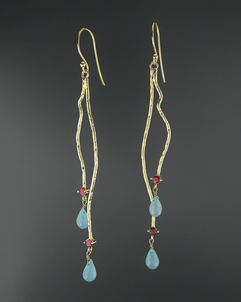 Σκουλαρίκια ασημένια 925 με άκουα χαλκηδόνιο και γρανάδα   κοσμηματα σκουλαρίκια σκουλαρίκια ημιπολύτιμοι λίθοι