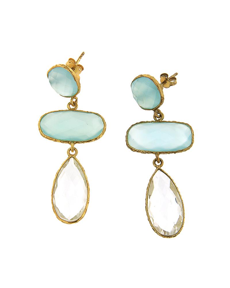 Σκουλαρίκια ασημένια 925 με μπλε χαλκηδόνιο και χαλαζία   κοσμηματα σκουλαρίκια σκουλαρίκια ημιπολύτιμοι λίθοι