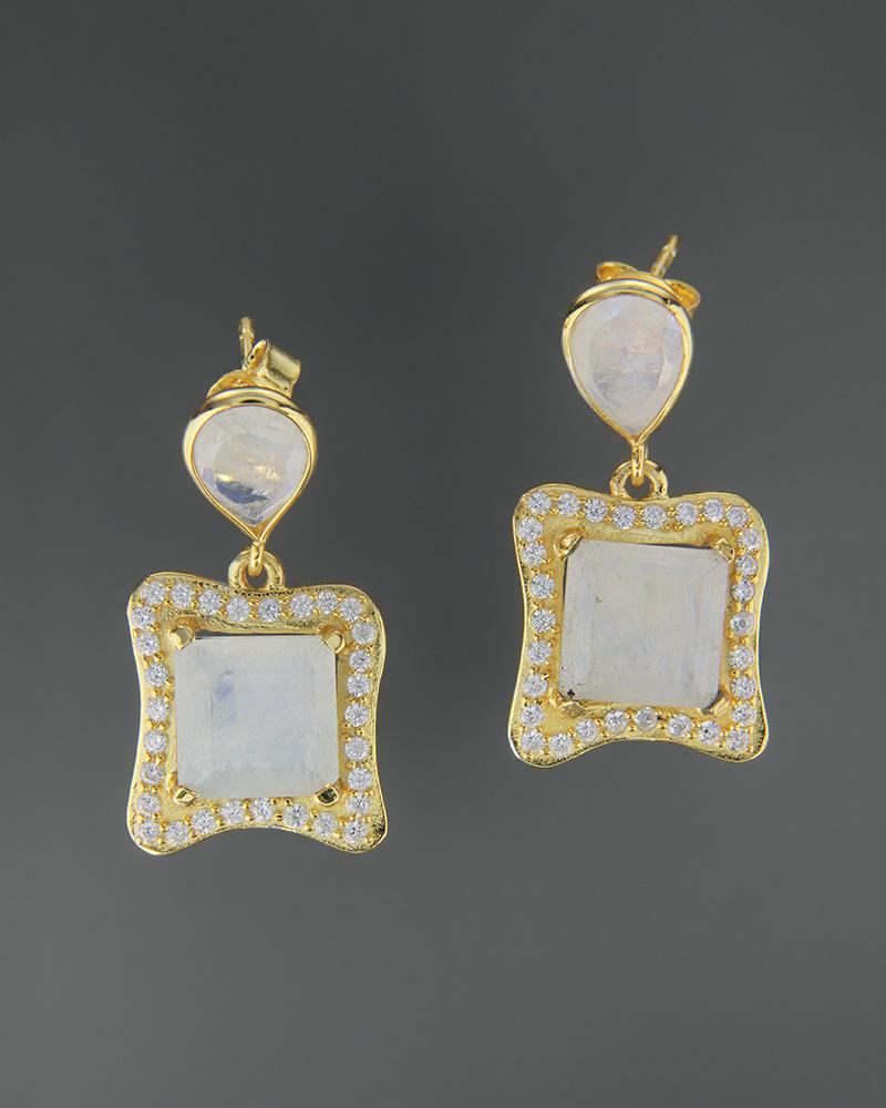Σκουλαρίκια ασημένια 925 με φεγγαρόπετρα και ζιργκόν   κοσμηματα σκουλαρίκια σκουλαρίκια ημιπολύτιμοι λίθοι