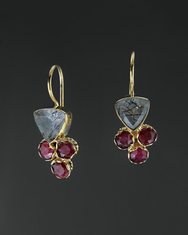 Σκουλαρίκια ασημένια 925 με ρουτίλιο και ρουμπίνια   κοσμηματα σκουλαρίκια σκουλαρίκια ημιπολύτιμοι λίθοι
