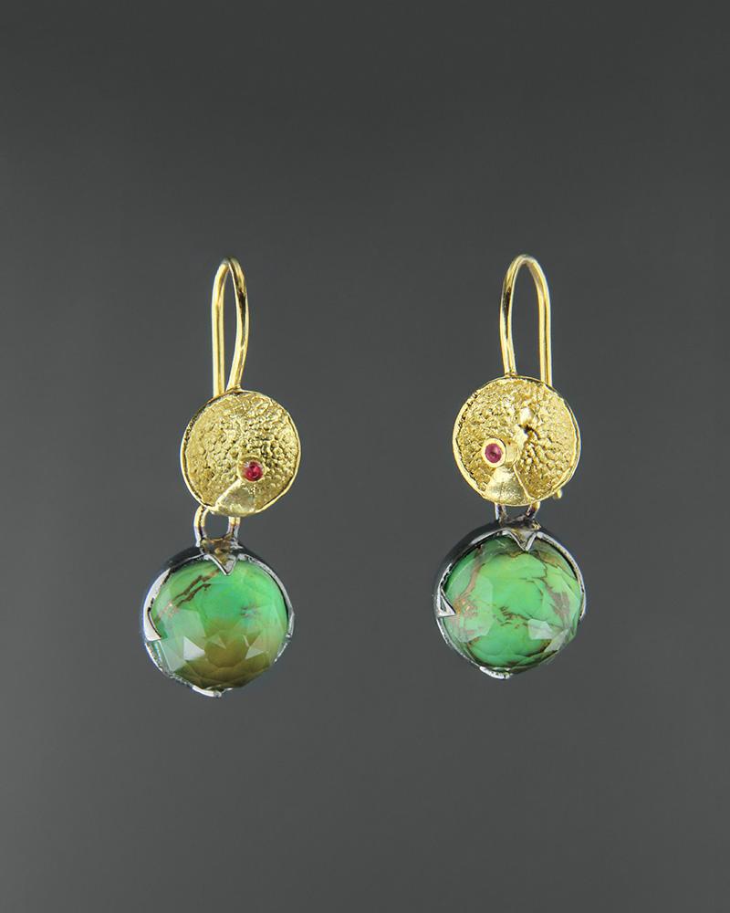 Σκουλαρίκια ασημένια 925 με green copper doublet   κοσμηματα σκουλαρίκια σκουλαρίκια ημιπολύτιμοι λίθοι