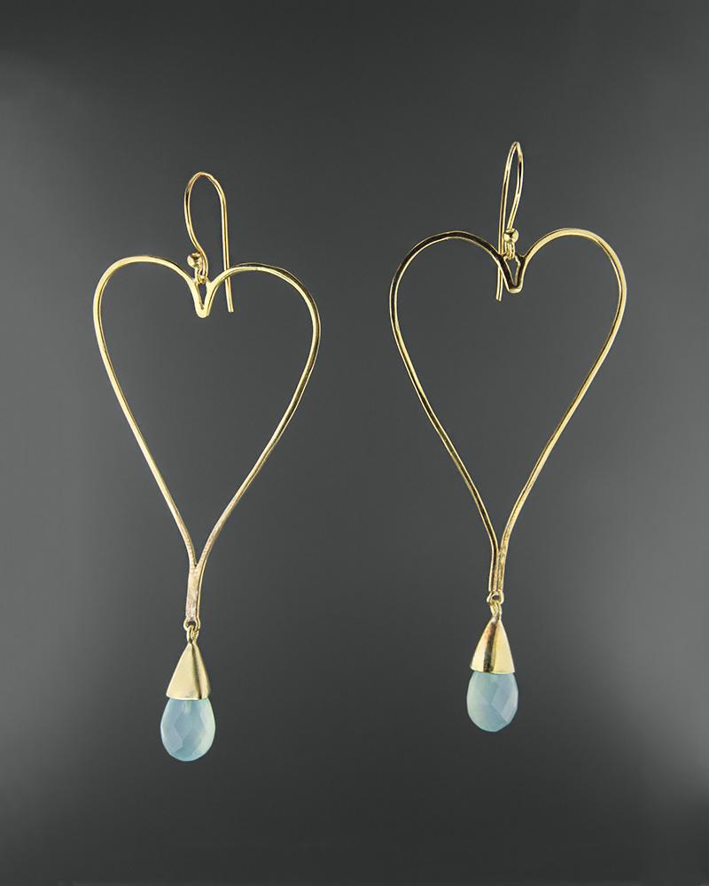 Σκουλαρίκια ασημένια 925 με άκουα χαλκηδόνιο   κοσμηματα σκουλαρίκια σκουλαρίκια ημιπολύτιμοι λίθοι