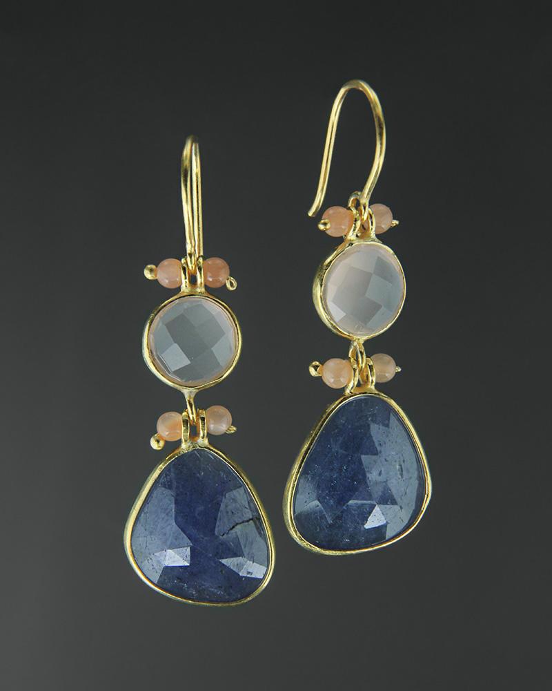 Σκουλαρίκια ασημένια 925 με τανζανίτη και χαλαζία   κοσμηματα σκουλαρίκια σκουλαρίκια ημιπολύτιμοι λίθοι