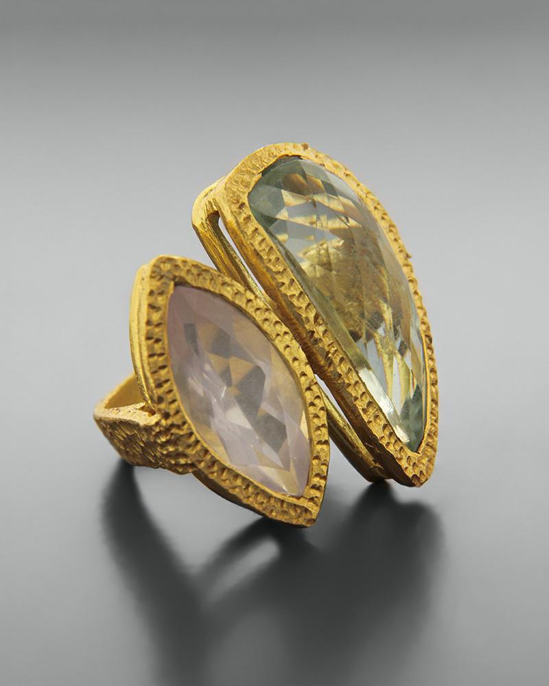 Δαχτυλίδι ασημένιο 925 με αμέθυστο και χαλαζία   κοσμηματα δαχτυλίδια δαχτυλίδια ημιπολύτιμοι λίθοι