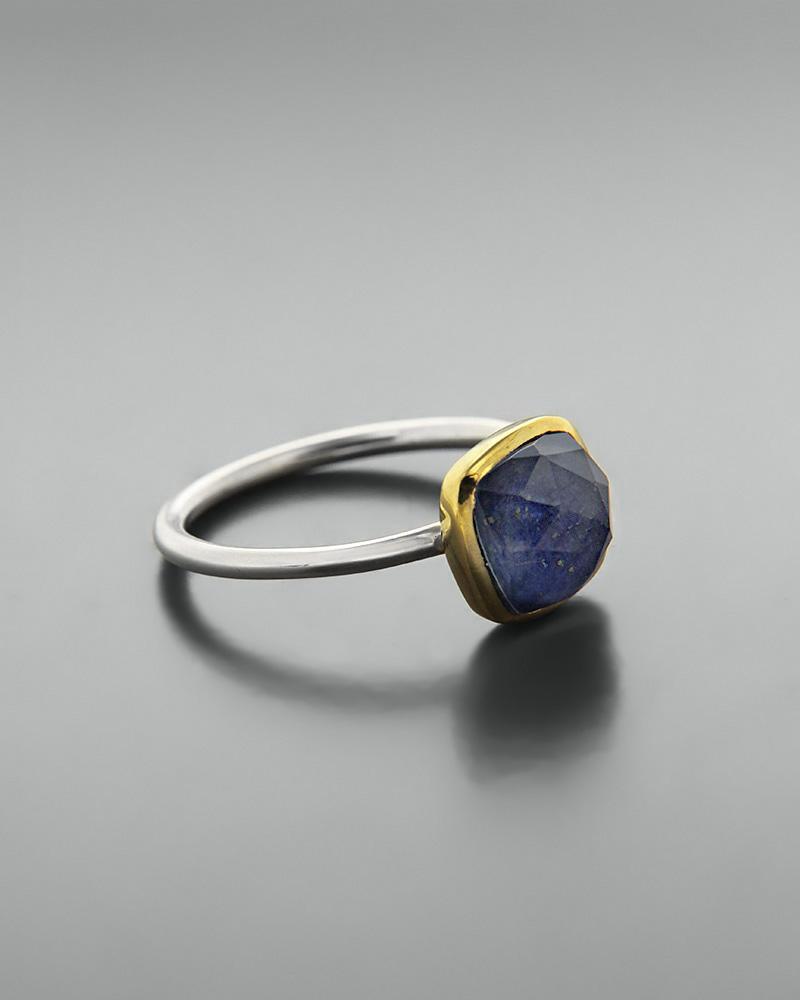 Δαχτυλίδι ασημένιο 925 με λάπις λάζουλι doublet   κοσμηματα δαχτυλίδια δαχτυλίδια ημιπολύτιμοι λίθοι