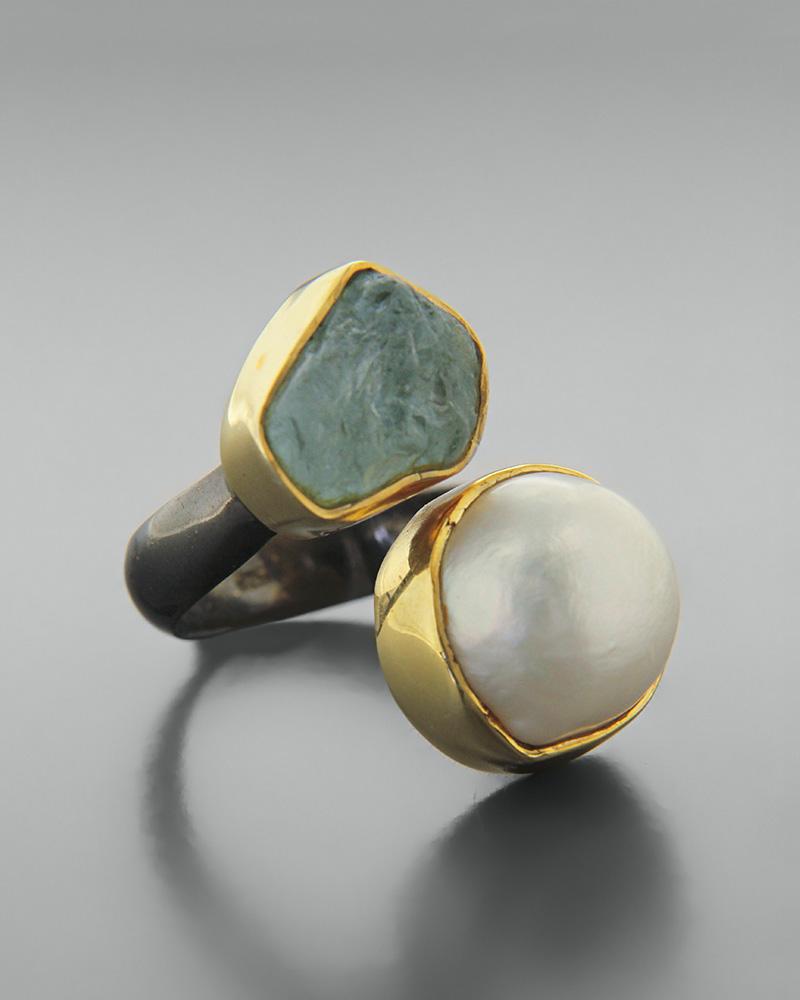 Δαχτυλίδι ασημένιο 925 με μαργαριτάρι και aquamarin   κοσμηματα δαχτυλίδια δαχτυλίδια μαργαριτάρια