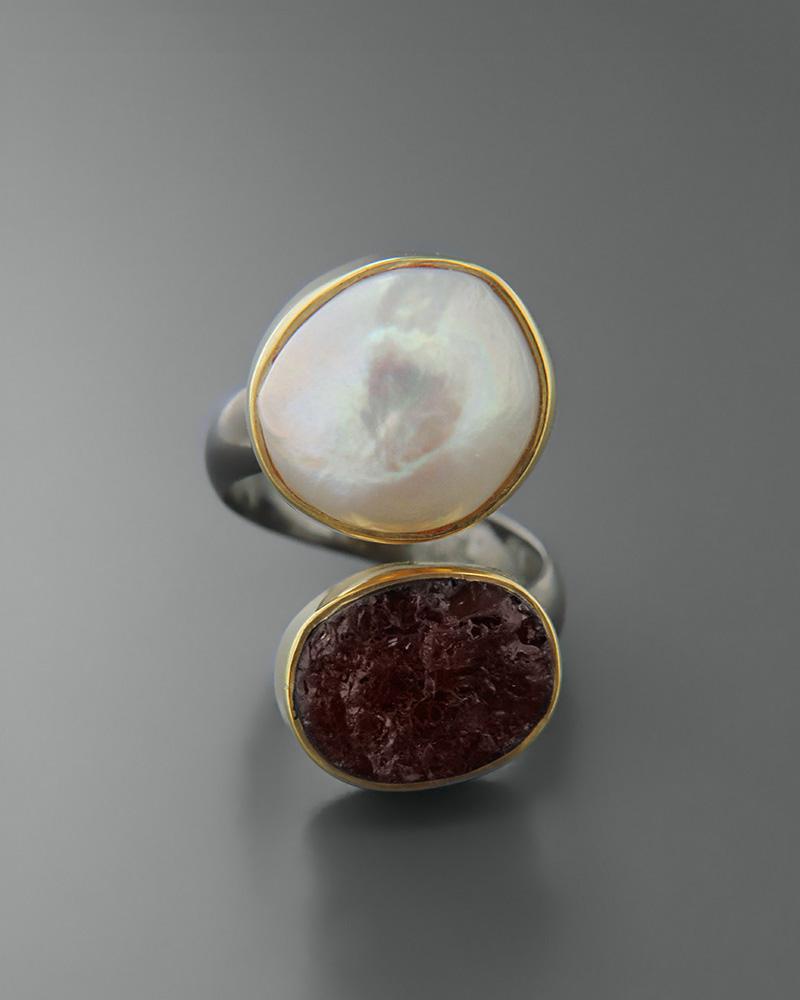Δαχτυλίδι ασημένιο 925 με μαργαριτάρι και γρανάδα   κοσμηματα δαχτυλίδια δαχτυλίδια μαργαριτάρια