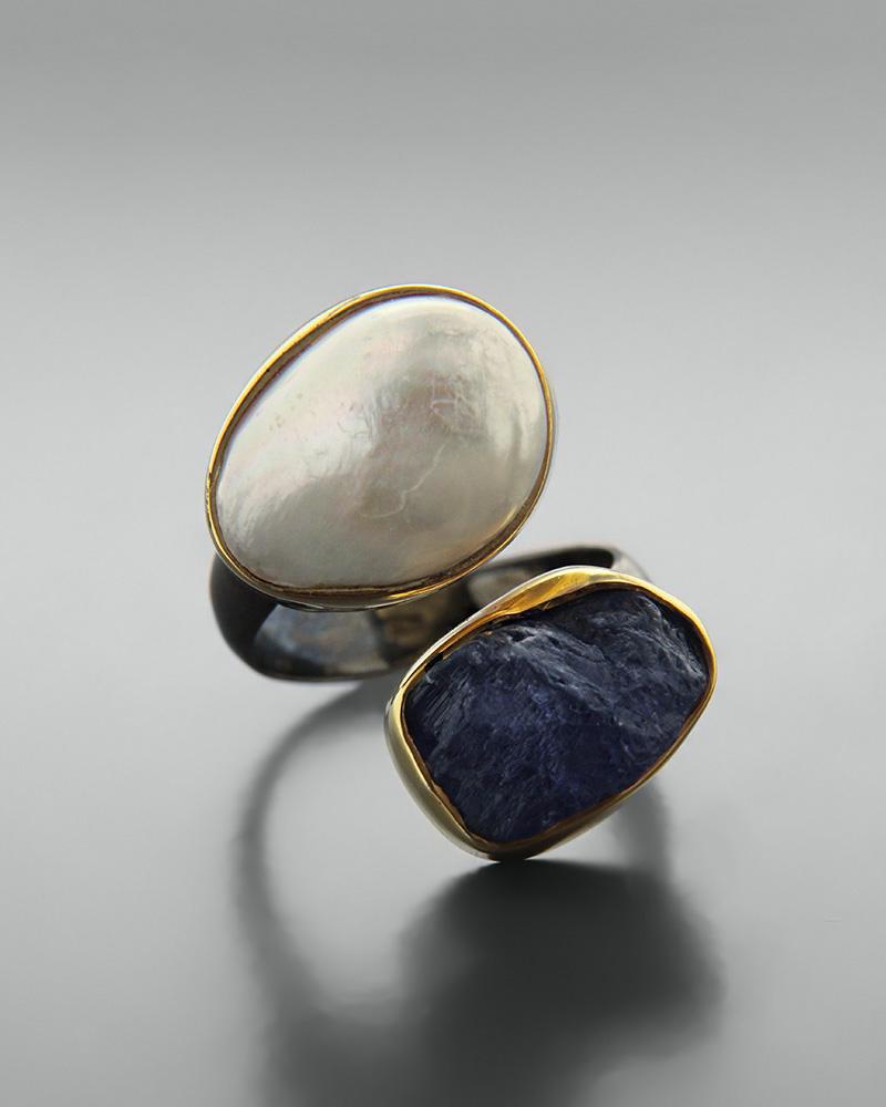 Δαχτυλίδι ασημένιο 925 με μαργαριτάρι και τανζανίτη   κοσμηματα δαχτυλίδια δαχτυλίδια μαργαριτάρια