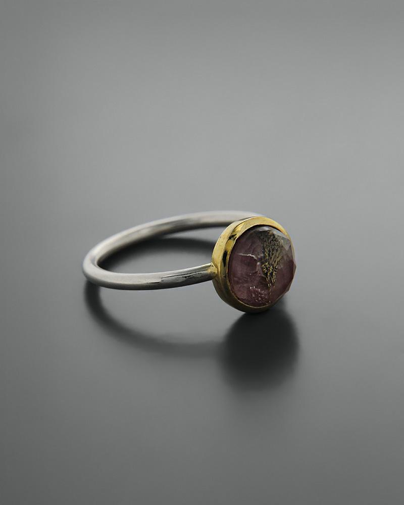 Δαχτυλίδι ασημένιο 925 με τουρμαλίνη doublet   κοσμηματα δαχτυλίδια δαχτυλίδια ημιπολύτιμοι λίθοι