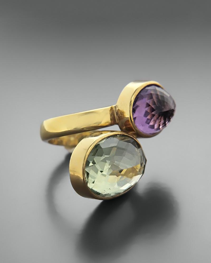 Δαχτυλίδι ασημένιο 925 με lemon quartz και αμέθυστο   κοσμηματα δαχτυλίδια δαχτυλίδια ημιπολύτιμοι λίθοι