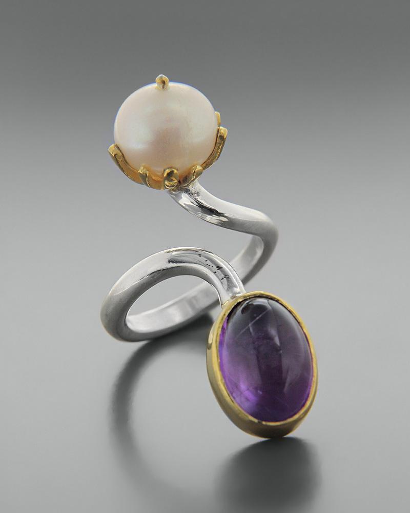 Δαχτυλίδι ασημένιο 925 με αμέθυστο και μαργαριτάρι   κοσμηματα δαχτυλίδια δαχτυλίδια ημιπολύτιμοι λίθοι