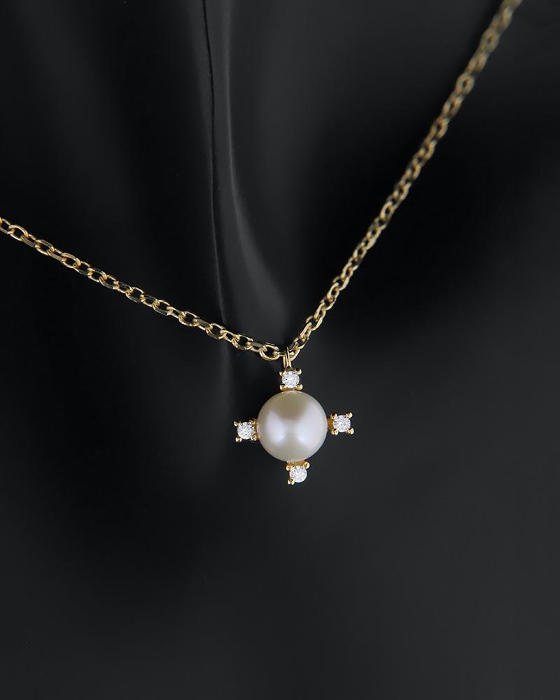 Κολιέ χρυσό Κ14 με μαργαριτάρι και ζιργκόν   γυναικα κρεμαστά κολιέ κρεμαστά κολιέ χρυσά