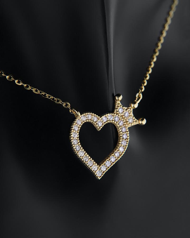 Κολιέ καρδιά με κορώνα χρυσό Κ14 με ζιργκόν   κοσμηματα κρεμαστά κολιέ κρεμαστά κολιέ καρδιές