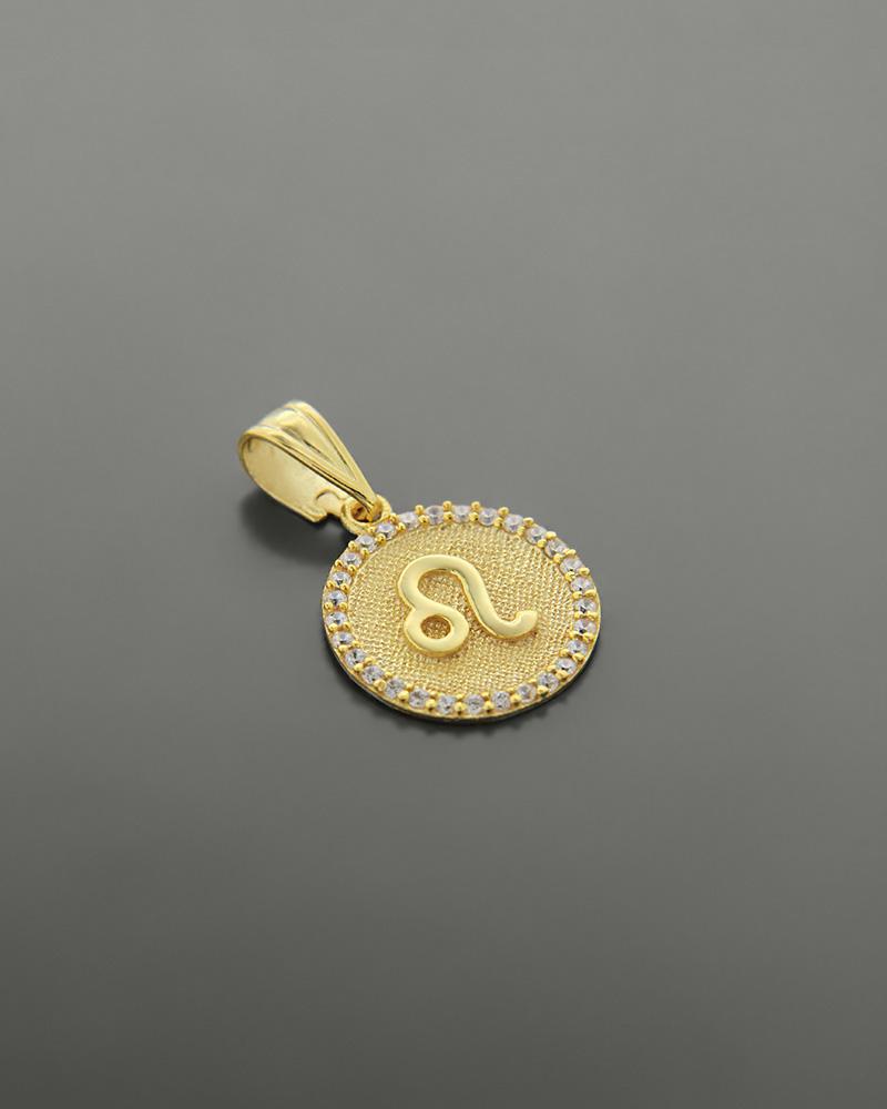 Μενταγιόν ζώδιο Λέων χρυσό Κ14 με ζιργκόν   κοσμηματα κρεμαστά κολιέ κρεμαστά κολιέ ζώδια