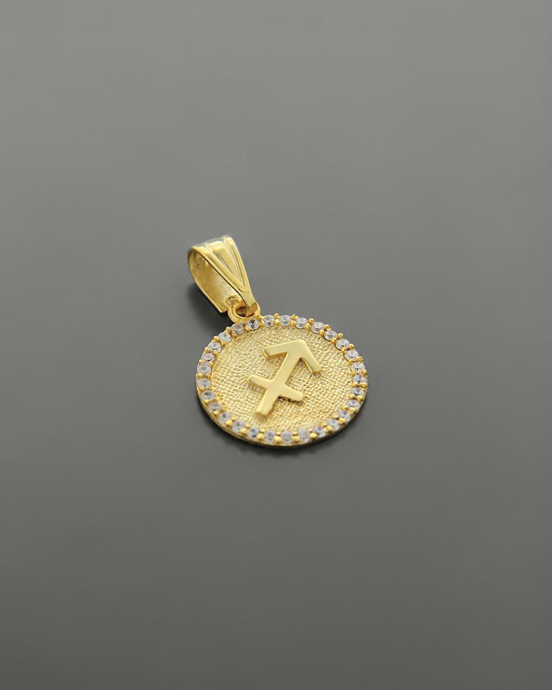 Μενταγιόν ζώδιο Τοξότης χρυσό Κ14 με ζιργκόν   γυναικα κρεμαστά κολιέ κρεμαστά κολιέ ζώδια