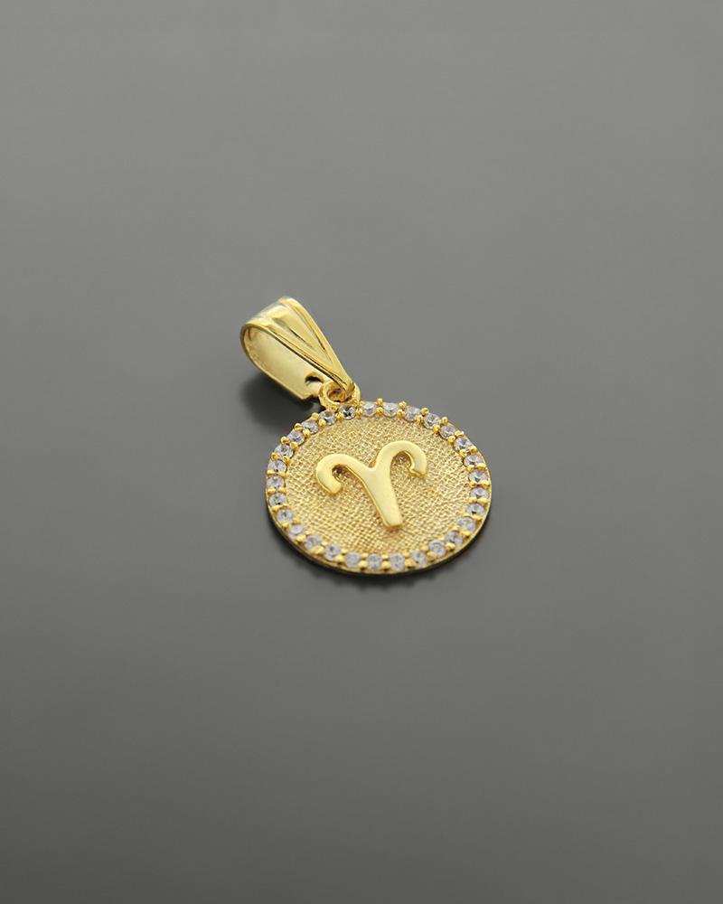 Μενταγιόν ζώδιο Κριός χρυσό Κ14 με ζιργκόν   κοσμηματα κρεμαστά κολιέ κρεμαστά κολιέ ζώδια