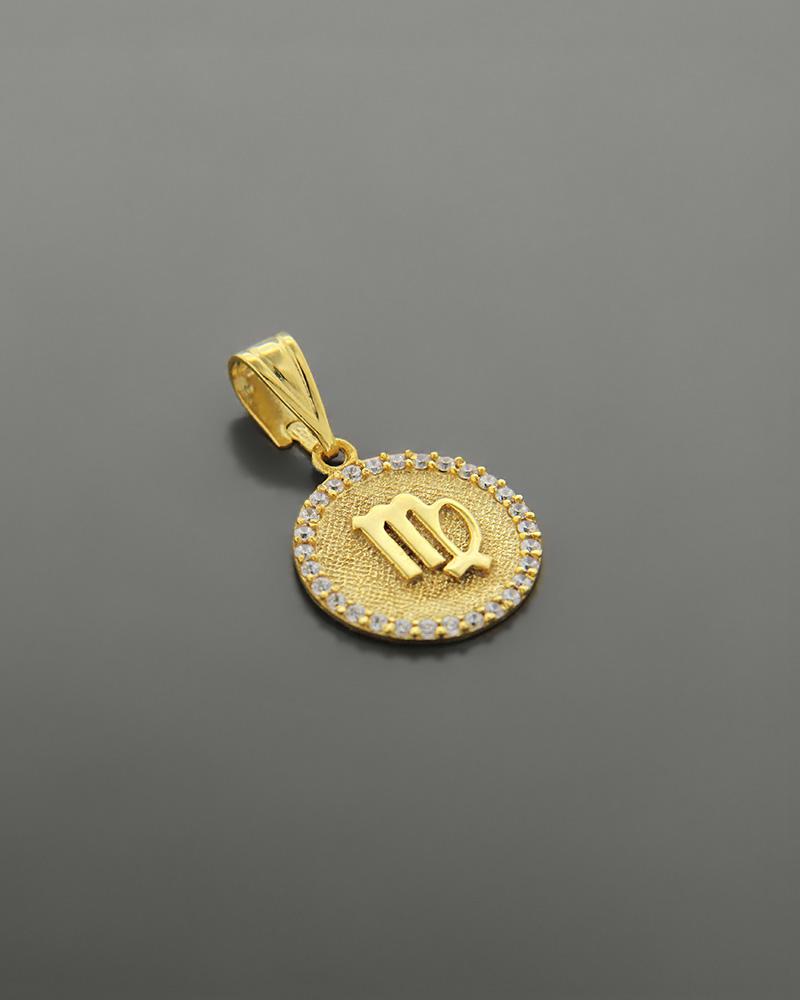 Μενταγιόν ζώδιο Παρθένος χρυσό Κ14 με ζιργκόν   κοσμηματα κρεμαστά κολιέ κρεμαστά κολιέ ζώδια