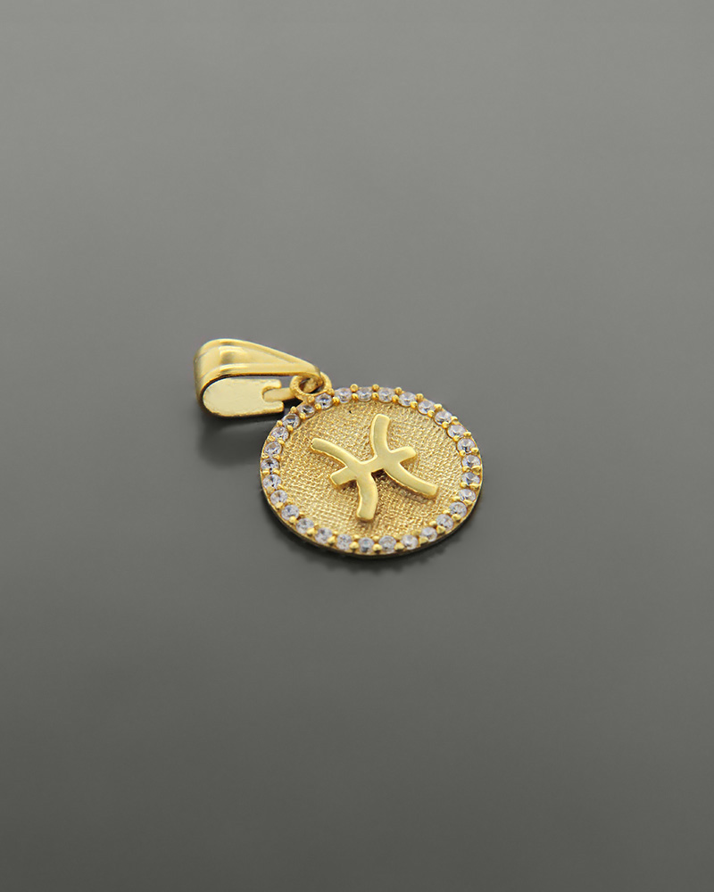 Μενταγιόν ζώδιο Ιχθείς χρυσό Κ14 με ζιργκόν   κοσμηματα κρεμαστά κολιέ κρεμαστά κολιέ ζώδια