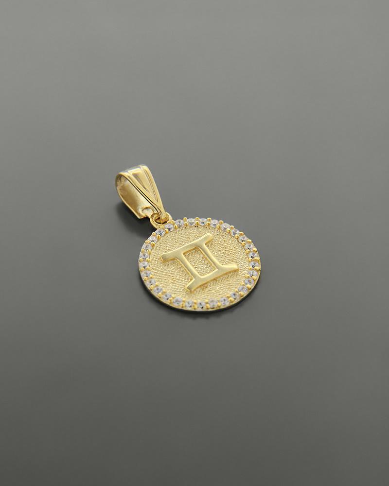 Μενταγιόν ζώδιο Δίδυμοι χρυσό Κ14 με ζιργκόν   κοσμηματα κρεμαστά κολιέ κρεμαστά κολιέ ζώδια