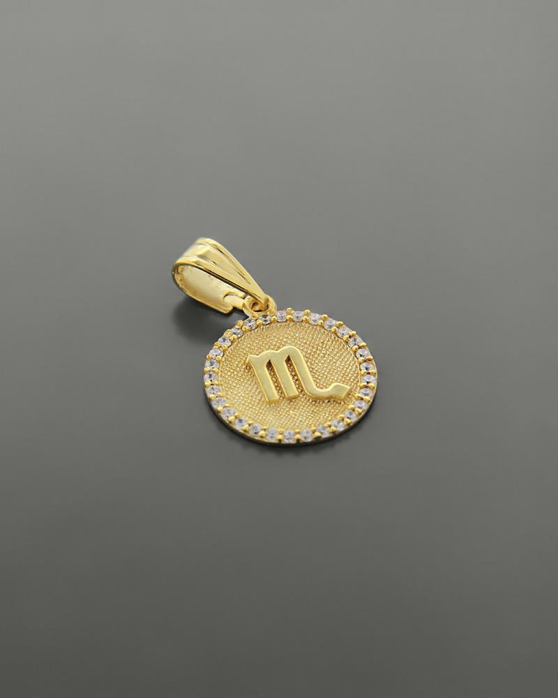 Μενταγιόν ζώδιο Σκορπιός χρυσό Κ14 με ζιργκόν   κοσμηματα κρεμαστά κολιέ κρεμαστά κολιέ ζώδια