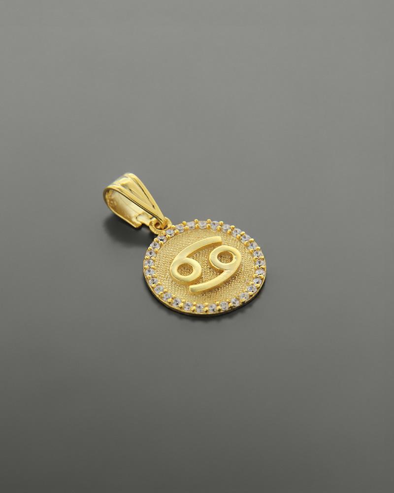Μενταγιόν ζώδιο Καρκίνος χρυσό Κ14 με ζιργκόν   κοσμηματα κρεμαστά κολιέ κρεμαστά κολιέ ζώδια