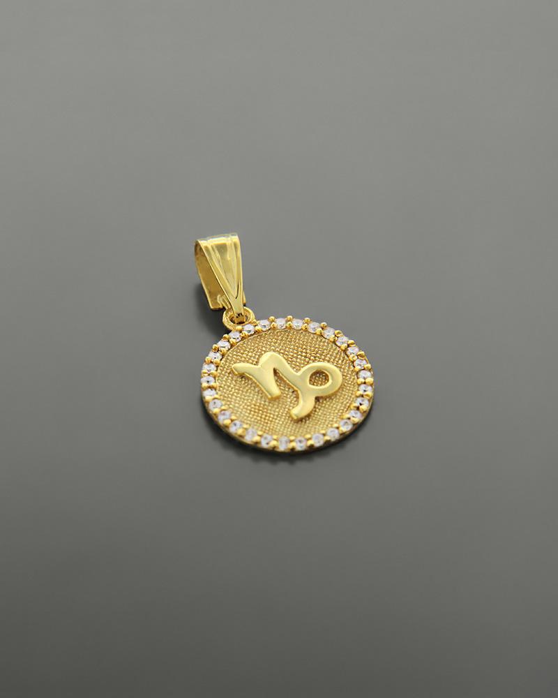 Μενταγιόν ζώδιο Αιγόκερως χρυσό Κ14 με ζιργκόν   κοσμηματα κρεμαστά κολιέ κρεμαστά κολιέ ζώδια