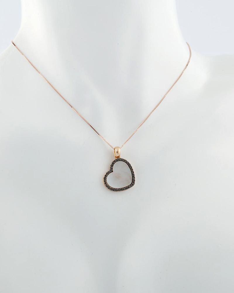 Κρεμαστό καρδιά από ροζ χρυσό Κ14 με Φίλντισι & Ζιργκόν   γυναικα κρεμαστά κολιέ κρεμαστά κολιέ καρδιές