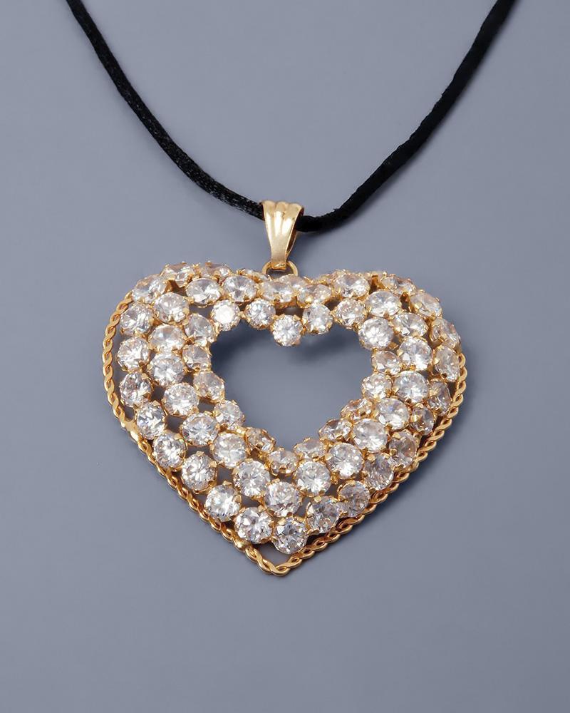 Κρεμαστό καρδιά χρυσό Κ14 με Ζιργκόν   κοσμηματα κρεμαστά κολιέ κρεμαστά κολιέ καρδιές