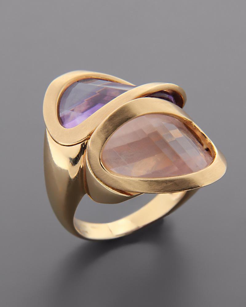 Δαχτυλίδι ροζ χρυσό Κ18 με Αμέθυστο και Quartz   κοσμηματα δαχτυλίδια δαχτυλίδια ημιπολύτιμοι λίθοι