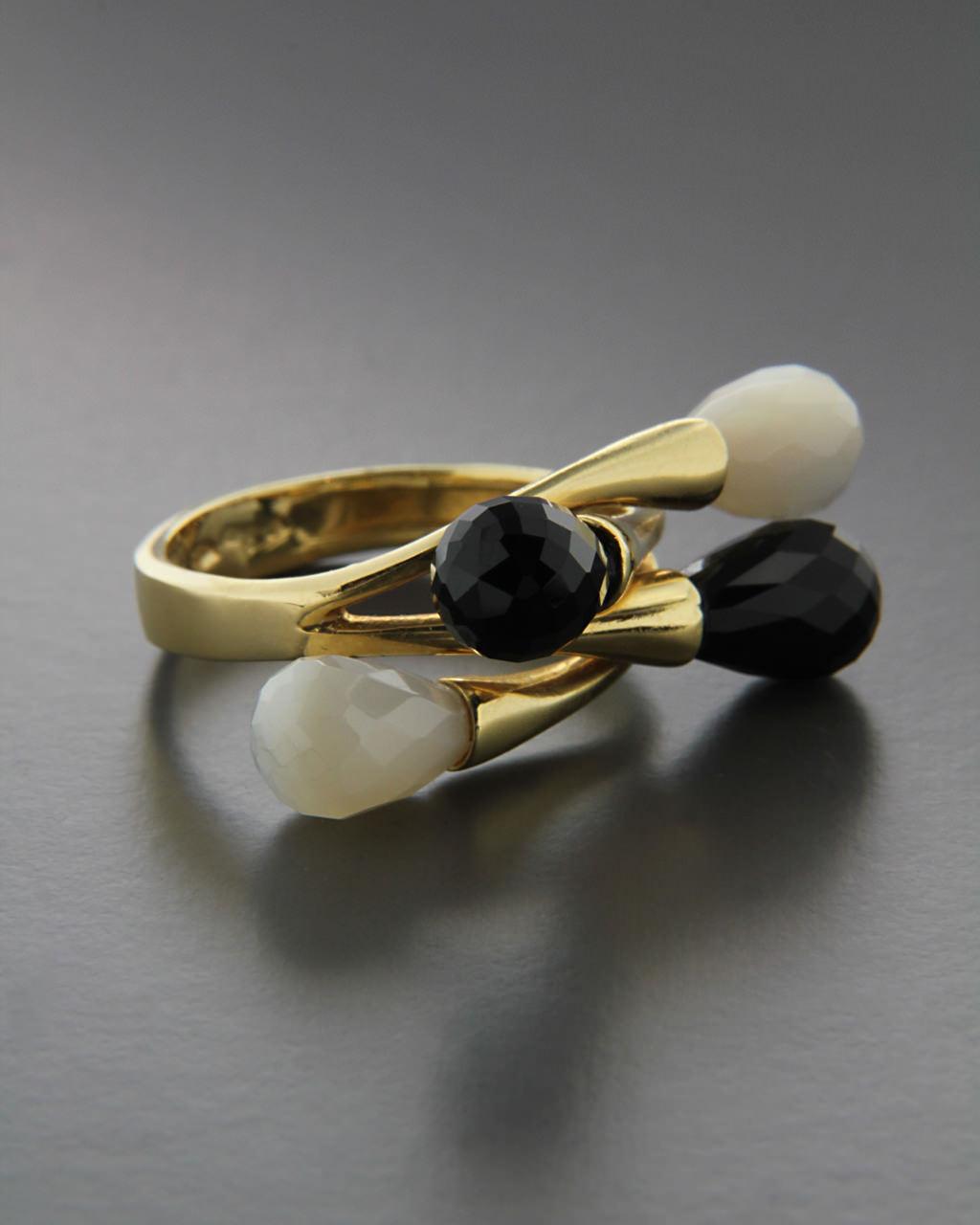 Δαχτυλίδι χρυσό Κ18 με Όνυχα