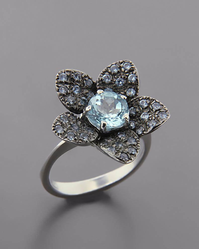 Δαχτυλίδι λευκόχρυσο Κ18 με Ακουαμαρίνα   γυναικα δαχτυλίδια δαχτυλίδια ημιπολύτιμοι λίθοι