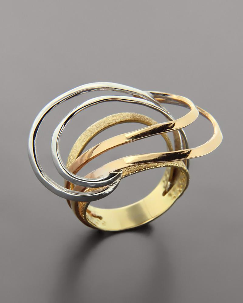 Τρίχρωμο δαχτυλίδι χρυσό Κ18   γυναικα δαχτυλίδια δαχτυλίδια λευκόχρυσα