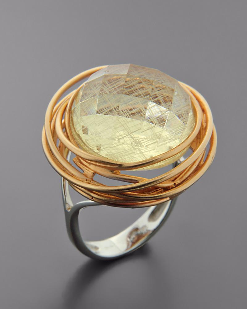 Δαχτυλίδι ροζ χρυσό και λευκόχρυσο Κ18 με Quartz   γυναικα δαχτυλίδια δαχτυλίδια λευκόχρυσα