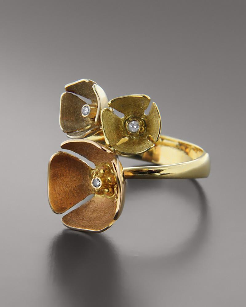 Τρίχρωμο δαχτυλίδι χρυσό Κ18 με Ζιργκόν   γυναικα δαχτυλίδια δαχτυλίδια χρυσά