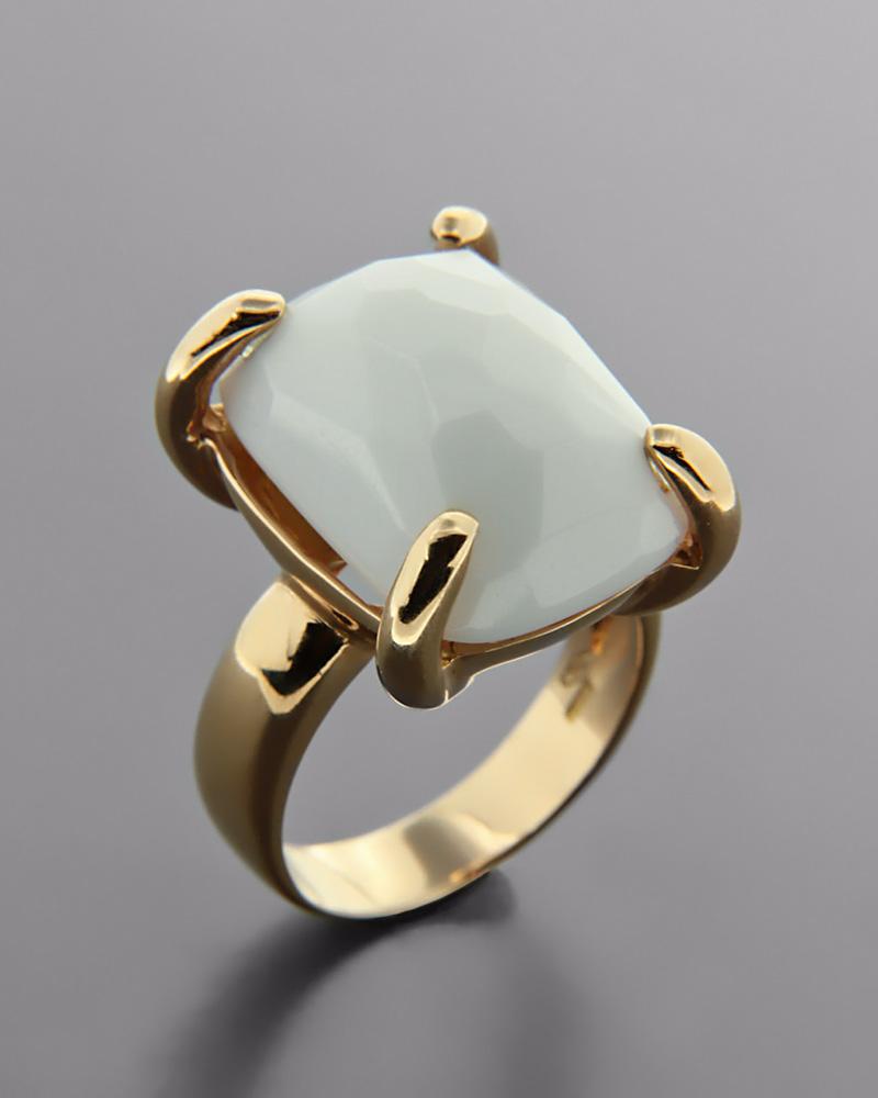 Δαχτυλίδι ροζ χρυσό Κ18 με Όνυχα   γυναικα δαχτυλίδια δαχτυλίδια ημιπολύτιμοι λίθοι