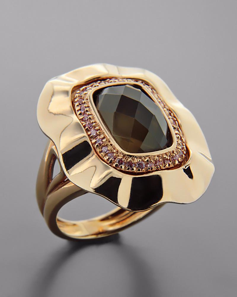Δαχτυλίδι από ροζ χρυσό Κ18 με Τοπάζι και Ζιργκόν   γυναικα δαχτυλίδια δαχτυλίδια ημιπολύτιμοι λίθοι