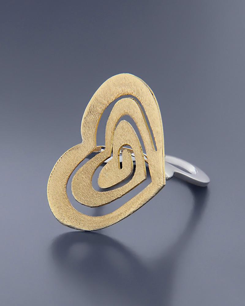 Δαχτυλίδι χρυσό και λευκόχρυσο Κ18