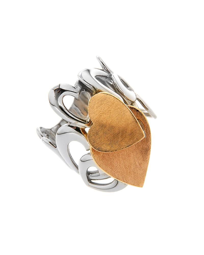 Δαχτυλίδι από ροζ και λευκόχρυσο Κ18 με καρδιές   κοσμηματα δαχτυλίδια λευκόχρυσα δαχτυλίδια