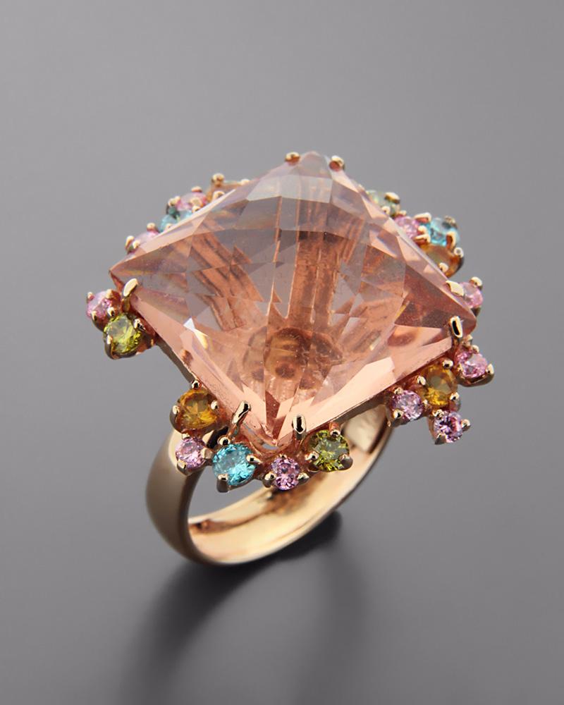 Δαχτυλίδι ροζ χρυσό Κ18 με Tοπάζι   κοσμηματα δαχτυλίδια δαχτυλίδια ημιπολύτιμοι λίθοι