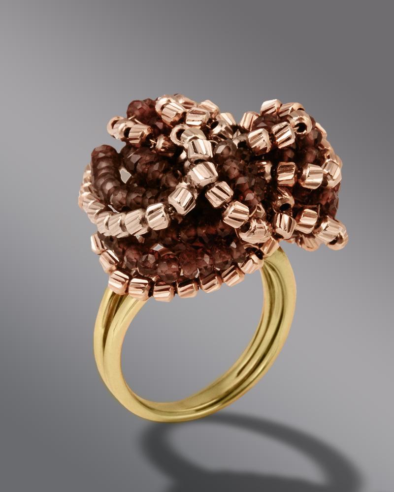 Δαχτυλίδι χρυσό Κ18 με γρανάδα   γυναικα δαχτυλίδια δαχτυλίδια χρυσά