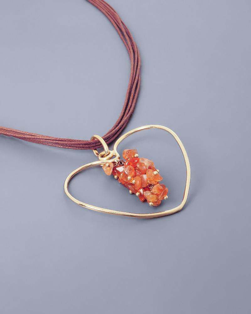 Κρεμαστό καρδιά χρυσό Κ18 με Αχάτη   κοσμηματα κρεμαστά κολιέ κρεμαστά κολιέ καρδιές