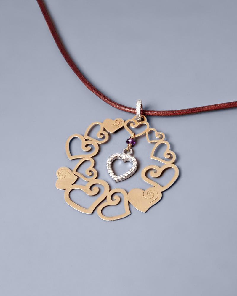 Κρεμαστό καρδιά χρυσό Κ18 με Ζιργκόν & Αμέθυστο   γυναικα κρεμαστά κολιέ κρεμαστά κολιέ καρδιές