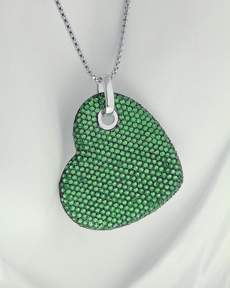 Κρεμαστό καρδιά από ασήμι 925 με Ζιργκόν   κοσμηματα κρεμαστά κολιέ κρεμαστά κολιέ καρδιές