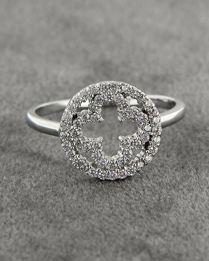 Δαχτυλίδι σταυρός λευκόχρυσο Κ14 με Ζιργκόν   γυναικα δαχτυλίδια δαχτυλίδια λευκόχρυσα
